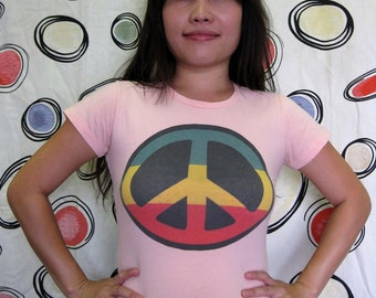 Pink Peace Sign T Shirt - M