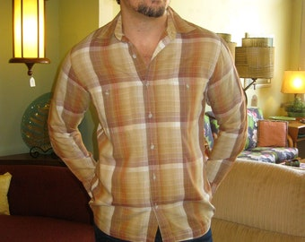 Fall Colors 1960s Brown Plaid Long Sleeved Shirt