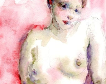 Nude Figure, Watercolor Print, Red and Pink, Olive Green, 8 x 10, Female Portrait, Pink Painting, Original Watercolor, Free Shipping