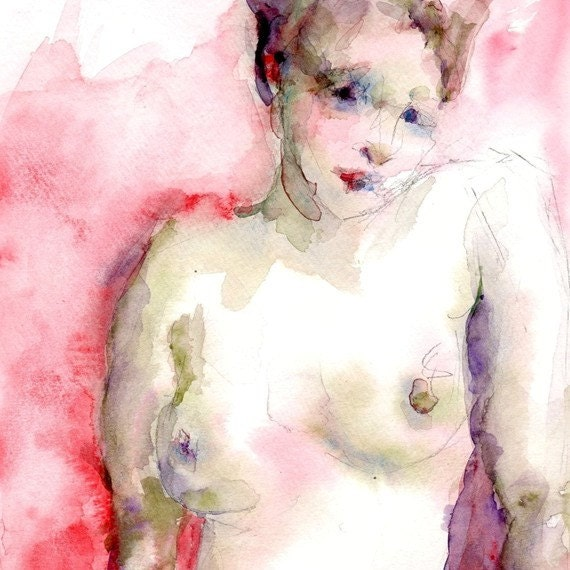 Nude Figure, Giclee Print, Woman in Pink 8 x 10 from an Original Watercolor