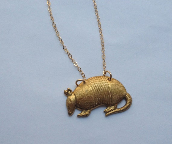 Armadillo necklace, brass armadillo on thin gold fill chain