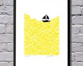 A3 size bigger boat screen print yellow waves - mengseldesign