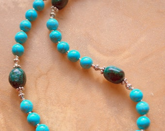Turquoise and Dyed Rhodonite Necklace, Turquoise Necklace, Native Style Jewelry, Handcrafted Jewelry, Gemstone Jewelry, Southwestern Style