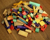 1930s - 1950s. 145 pcs. of Retro Wooden Toy Building Blocks