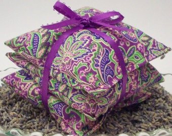 "Lavender Aromatherapy Sachets - Purple Paisley Floral - Set of 3 Lavendar Drawer Freshener Bags - 3 3/4"" x 3 3/4"" - Home and Living"