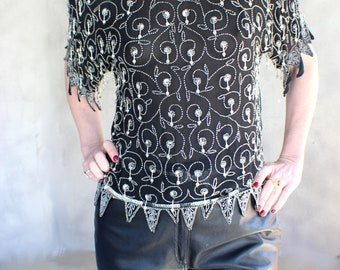 Beaded Top Silver and Black Silk Deco Blouse Small Vintage