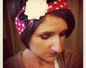 Lillie Wraps - Hot Pink Polka Dot Fabric Flower Velcro Headwrap Headband with a White Jersey Flower