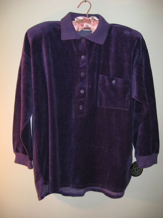 vintage 80s skirt and top casual wear purple velour size m