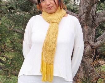 SUMMER SALE - Crochet Scarf - Super SOFT Women's Bold Yellow Fashion Scarf, Handmade Woman's Apparel - Homespun Yarn in Golden Rod