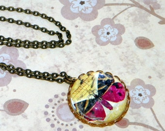 Butterfly Necklace, Antique Brass, Bug Insect Simple Necklace