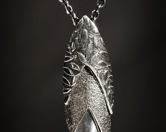 Textured Sterling Silver Leaf Articulated Pendant Moving Parts