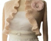 Blush Pink Bridal Shrug Ruffle Bolero  Boleros with organza flower 3/4 sleeve Wedding  Shawl Wrap Capelet