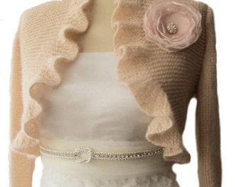 Blush Pink Bridal Shrug Ruffle Bolero  Boleros with organza flower 3/4 sleeve Wedding  Shawl Wrap Capelet
