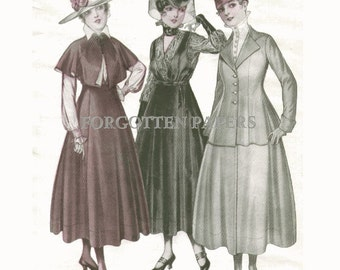 1916 EDWARDIAN Sepia Tint  FASHION  PRINT from McCalls - Capes and Modish Suits - On Back Paris Wears the by Paris Correspondent