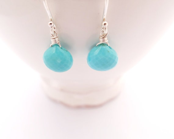 Sleeping Beauty Turquoise Earrings gifts for her december birthday jewelry sky blue arizona turquoise