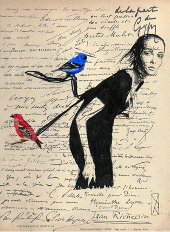 Digital Print Illustration- Love and Birds
