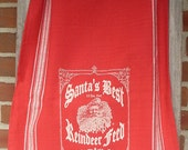 """Christmas table Runner, Red table runner, Santa decor, Feed Sack, Holiday decor,  woven cotton table cloth, """"Santa's Best Reindeer Feed"""""""