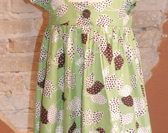 vintage style floral EMMA dress - green cotton print- custom made to order - sizes 2T 3T 4T 5 6 7 8 - indie kids fashion