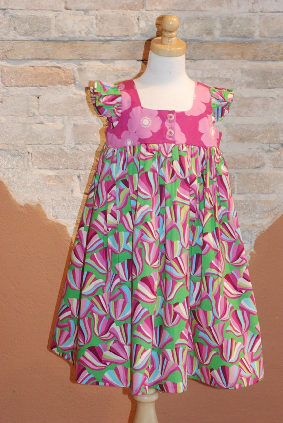 Modern Organic Cotton Girls Dress - Pink and Green Floral EMMA dress - custom made to order - sizes 2T 3T 4T 5 6 7  - kids fashion