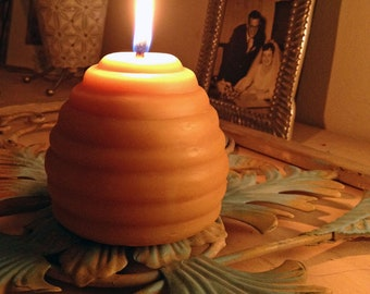 "Organically Managed Beeswax Beehive Candle with Bees -- 3.25"" x 3.25"""