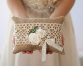 RESERVED Ring Bearer Pillow, rustic shabby chic romantic wedding ring pillow, burlap, taupe and ivory