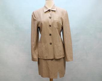 SALE - 80's Vintage Suit / Ann Taylor / Jacket & A-Line Mini Skirt / Plaid / Check / Small