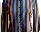 Vintage Black Eighties Multicolor Stripes Print Long Sleeves Womens Fashion Blouse Shirt Retro Eighties Clothing