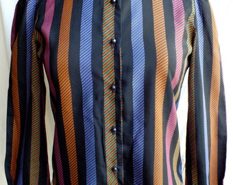 Vintage Black 70s Multicolor Stripes Print Long Sleeves Shirt - Womens Fashion Stripes Blouse - Retro Eighties Clothing for Her - 70s Blouse