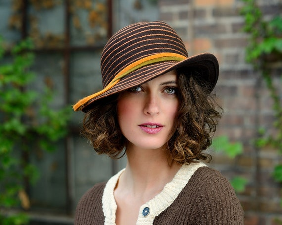 vintage style striped hat with upturned brim