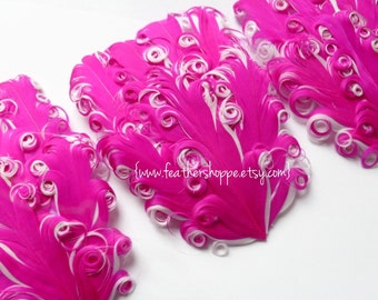 SET OF 2 - Pink and White Nagorie Curled Goose Feather Pad - NEW Curlz Line