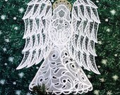 Victorian Lace Angel Tree Topper with Gold Halo