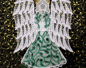 Emerald Irish Lace Angel Tree Topper
