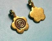 40 flower shaped glue on bails, antique gold tone, 16mm, SALE