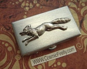 Small Pill Box Silver Fox Pill Box Tiny Size Silver Tone Metal Pill Case Gothic Victorian Steampunk Style Men's Gift