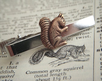 Squirrel Tie Clip Woodland Animal Silver Plated & Copper Victorian Vintage Inspired Men's Christmas Gifts Accessories