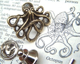 Brass Octopus Tie Tack Lapel Pin Gothic Victorian Nautical Steampunk Style From Cosmic Firefly