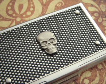 Steampunk Skull Business Card Case Industrial Steampunk Card Case Men's Gifts For Him