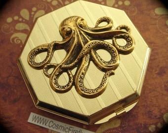 Gold Octopus Mirror Case Art Deco Mirror Octagon Shape Gold Case Mirror Compact Case