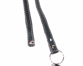 Black Leather Keychain with Black Bone Pendant Keyring Handmade
