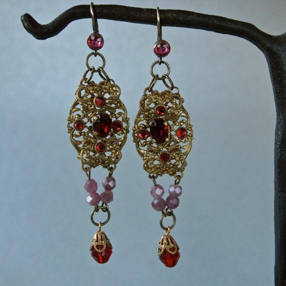 OOAK Handmade Vintage Earrings Empress Filigree Czech Ruby Glass and Rough Cut Real Rubies Chandelier Earrings Victorian Style Repurposed