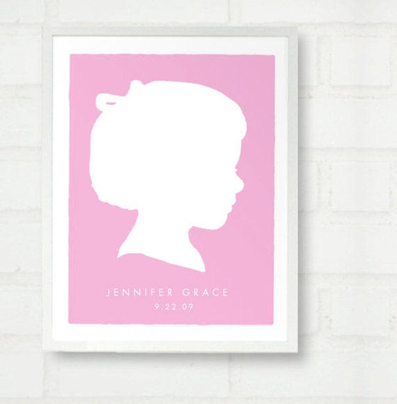 Custom Child Silhouette Color Block Print Girl or Boy - Personalized Baby or Child Name Art - for Modern Nursery or Kids Room - 11x14