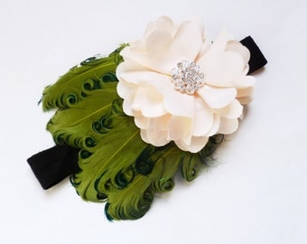 Moss and Cream  Baby Childrens Feather Headband - Photo Prop
