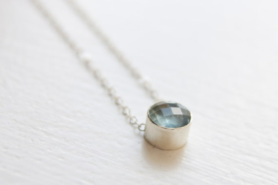 Aquamarine Necklace in Recycled Sterling Checkerboard Faceted Gemstone Pendant Blue Gemstone