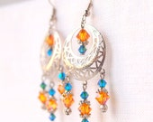 Bohemian chandelier earrings, orange turquoise swarovski earrings