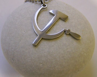 Hammer and sickle stainless steel pendant on ball chain mens or womens necklace