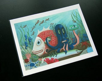 Underwater Scene with Octopus and Fish - Hi-Horse Omnibus Cover - Archival Print 8.5x11