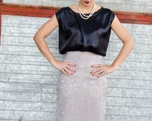 Black Silk Top, Satin Asymmetric Blouse, Available in Plus sizes and Many Colors, Silver, White Top