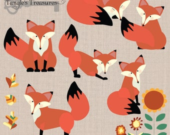 Instant Download -Foxes digital clipart