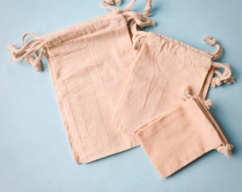 "200 4'' x 6'' and 100 3"" x 4'' muslin bags, Natural Drawstring Sack, Rustic Gift Bag Wedding Favor"