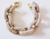 Gold Crystal Pave Link Bracelet